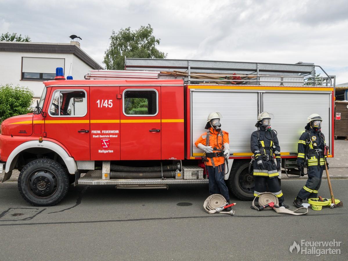 Ausstellung persönliche Schutzausrüstung vor LF 16
