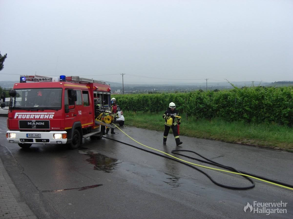 Feuerlöscher und Minischwerschaum-Handrohr wird bereitgestellt