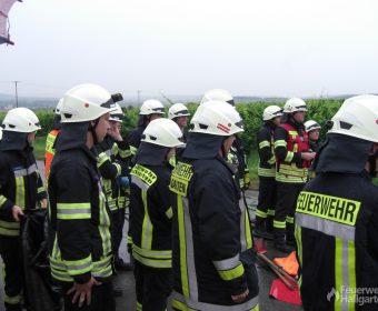 Die Feuerwehr Hallgarten präsentierte sich trotz Sommerferien mit einer großen Truppe