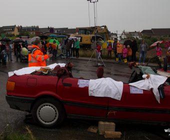 Das Dach wurde zur Achsgerechten Rettung entfernt