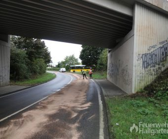 lange Dieselspur unter Bahnbrücke