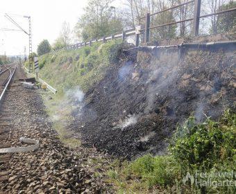 Löscherfolg brennender Bahndamm