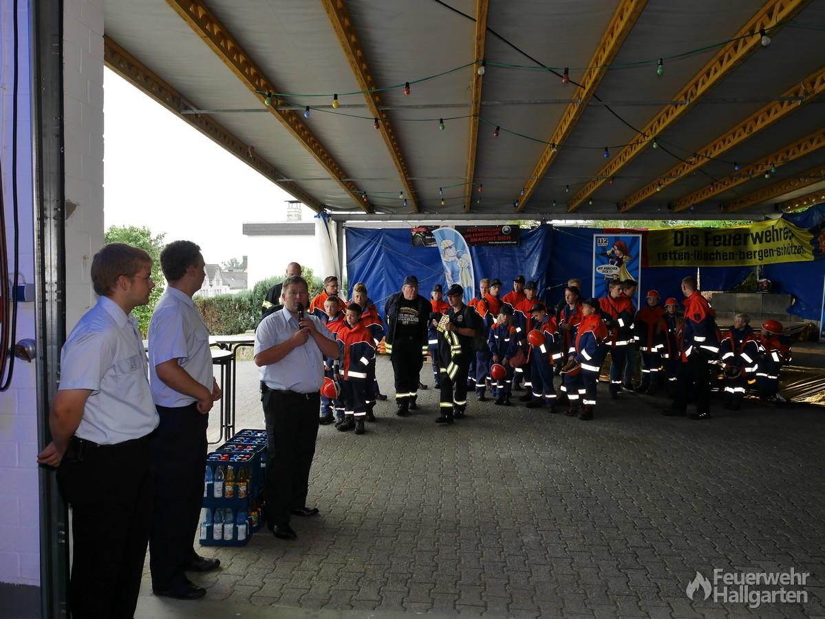 Begrüßung der Gruppen der Jugendfeuerwehren