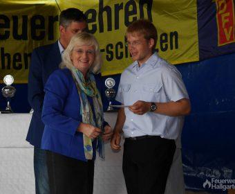 Petra Müller-Klepper überreicht ein Präsent an Jugendwart Torsten Sterzel
