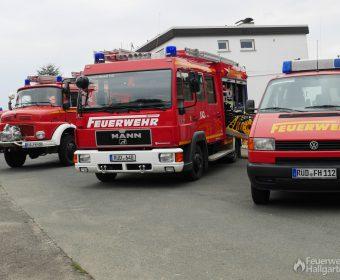 Ausgestellte Fahrzeuge der Feuerwehr Hallgarten