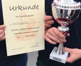 Pokal und Urkunde Wettkampf bei der JF Erbach